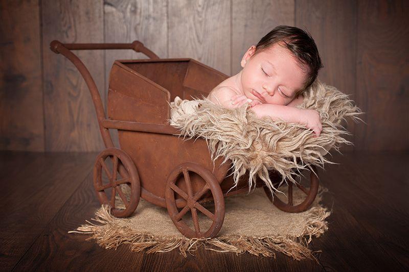Newborn Fotografie Düsseldorf: Fotografie eines Säuglings, der schlafend in einem Kinderwagen sitzt und dabei sein Köpchen auf Fell lehnt.